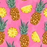 Seamless summer pineapple abstract pattern - 212147101