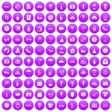 100 honeymoon icons set in purple circle isolated vector illustration - 212147102