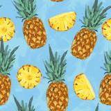 Seamless summer pineapple abstract pattern - 212148343