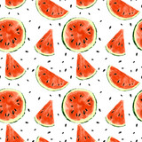 Seamless summer watermelon abstract pattern - 212149706