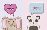 Kawaii  elephant and panda bear with speech bubble with hearts icons. vector illustration