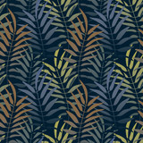 Vector seamless pattern. Colorful background with jungle motif. Botanical tropical background. - 212155739