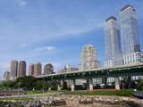 Manhattan, modern apartment buildings beside the Hudson River..