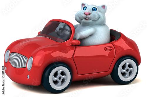 Plexiglas Auto Fun cat - 3D Illustration