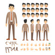 business man character set. Full length. Different view, emotion, gesture.