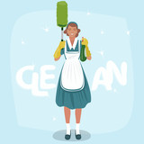 Full body view of cleaning woman holding sprayer and dust brush or pom pom duster. Clean lettering. Expressive cartoon style - 212176571