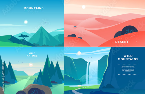 Vector set of flat summer landscape illustrations with desert, waterfall, mountains, sun, forest on blue clouded sky. Good for travel camping tour poster, placard, flayer, leaflet, banner. Nature view - 212181952