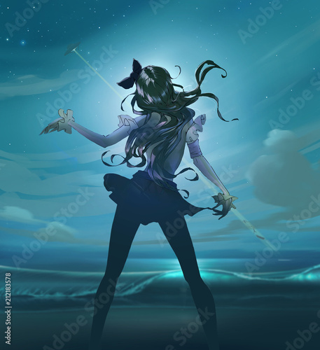 Cartoon anime illustration of a beautiful slim woman with long hair dancing on the moony background with a night starry sky and a ufo - 212183578