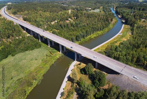 Fototapeta Aerial view of the Norsholm bridge