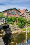Old cottage made of red bricks, Bad Oldesloe, Northern Germany - 212191181