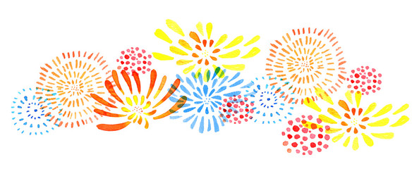 Hand drawn watercolor horizontal illustration with isolated color stylized fireworks © Alexandra