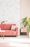 Plant next to pink couch with pillow in living room interior with patterned wallpaper. Real photo - 212195991