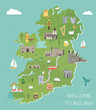 Irish map with symbols of Ireland, destinations - 212196736