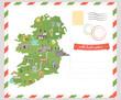 Postcard Irish map. Symbols of Ireland - 212196747