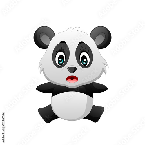 Fototapeta Cute funny baby panda cartoon