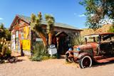 abandoned retro car in Route 66 gas station, Arizona, Usa