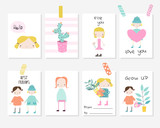 Set of cute cards with girls and plants for kids party, baby shower or birthday. Vector hand drawn illustration. - 212205969