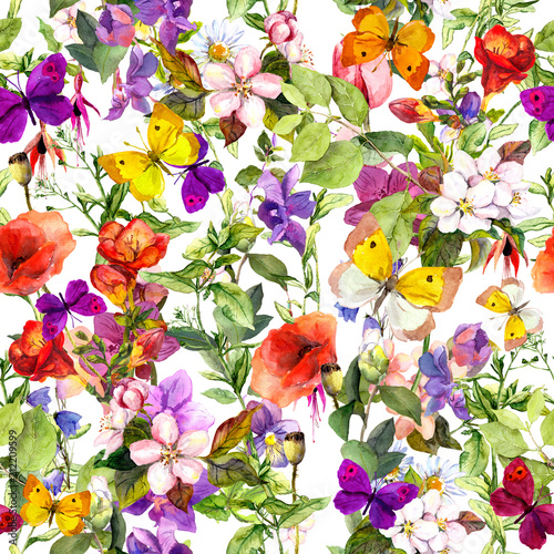 Flowers, butterflies. Repeated floral pattern for fashion design. Watercolor