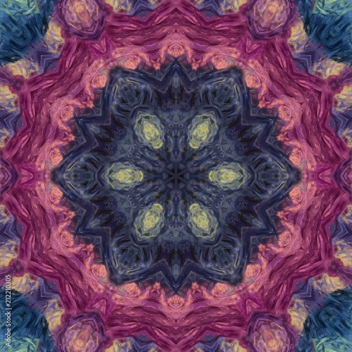 Abstract oil painting style artwork. Mystic pictorial art. Magic sacred geometry. Meditative indian mandala. Feng shui and yoga traditional design pattern. Fantasy fractal symmetric creative print. - 212210305
