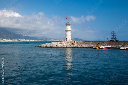 Fotobehang Schip lighthouse in Turkey