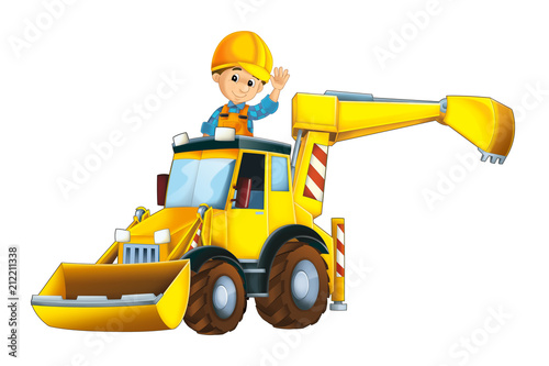 cartoon scene with worker in excavator - on white background - illustration for children - 212211338