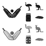 A game of cricket, an emu ostrich, a kangaroo, a popular food.Australia set collection icons in black,monochrome style vector symbol stock illustration web.