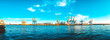 Leinwanddruck Bild - 180 degree panorama of port at elbe river, hamburg