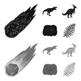 A falling meteorite,parasaurolophus, tyrannosaurus, an imprint of a dinosaur foot. The dinosaur and prehistoric period set collection icons in black,monochrome style vector symbol stock illustration