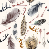 Fashion bohemian pattern with feathers, Indian arrows and deer horns - 212212724