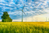 renewable energies - power generation with wind turbines in a wind farm  - 212213175