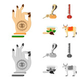 Country India cartoon,monochrome icons in set collection for design.India and landmark vector symbol stock web illustration. - 212213974