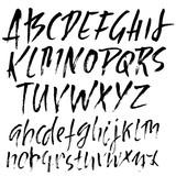 Hand drawn dry brush lettering. Grunge style alphabet. Handwritten font. Vector illustration. - 212215591