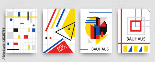 Retro geometric bauhaus, memphis covers templates set © artrise