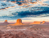 Rocks and buttes of Monument Valley at sunset - 212222702