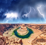 Wide angle view of Horseshoe Bend during a storm, Page - Arizona - USA - 212222947