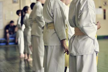 Kids of karate. Training and exam in karate.