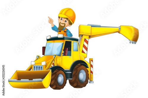cartoon scene with worker in excavator - on white background - illustration for children - 212226545