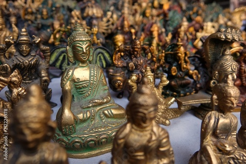 Small bronze statuettes on the street market in Rishikesh.