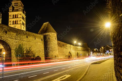 Canvas Nacht snelweg Meyen und Umgebung bei Nacht