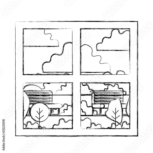 Fotobehang Wit house windows with park view vector illustration design