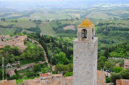 Fotobehang Blauwe hemel San Gimignano known as Town of Fine Towers - Famous medieval hill town in Siena, Tuscany, Italy