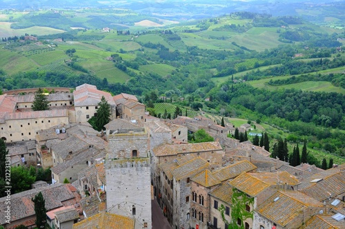 Fotobehang Bleke violet San Gimignano known as Town of Fine Towers - Famous medieval hill town in Siena, Tuscany, Italy
