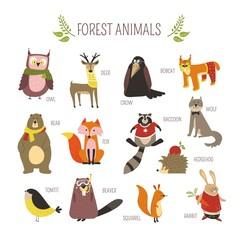 Forest animals vector cartoon icons © Sonulkaster