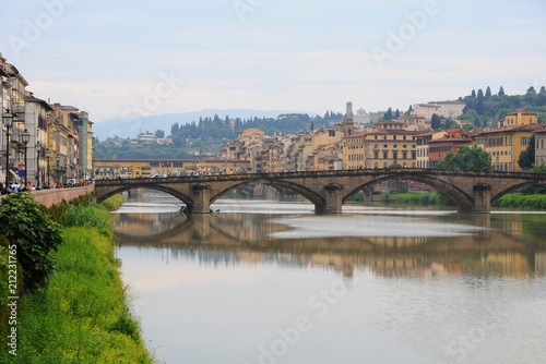 Colorful houses near the Arno River, in Florence, Italy - 212231765