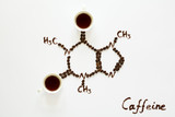 Chemical formula of Caffeine. Cups of espresso, beans and coffee powder. Art food. Top view. - 212232304