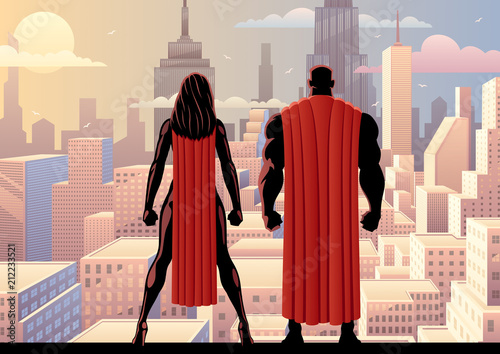 Superhero Couple Watch Day / Superhero couple watching over the city during the day.