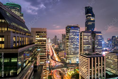 Plexiglas Bangkok City office building light night view, Bangkok central business downtown, Thailand