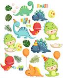 Fototapeta Dinusie - Dinosaur Birthday Theme © Inkley