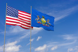 USA and Pennsylvania flags over blue sky background. 3D illustration - 212245364