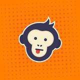 ape, monkey showing tongue vector sticker